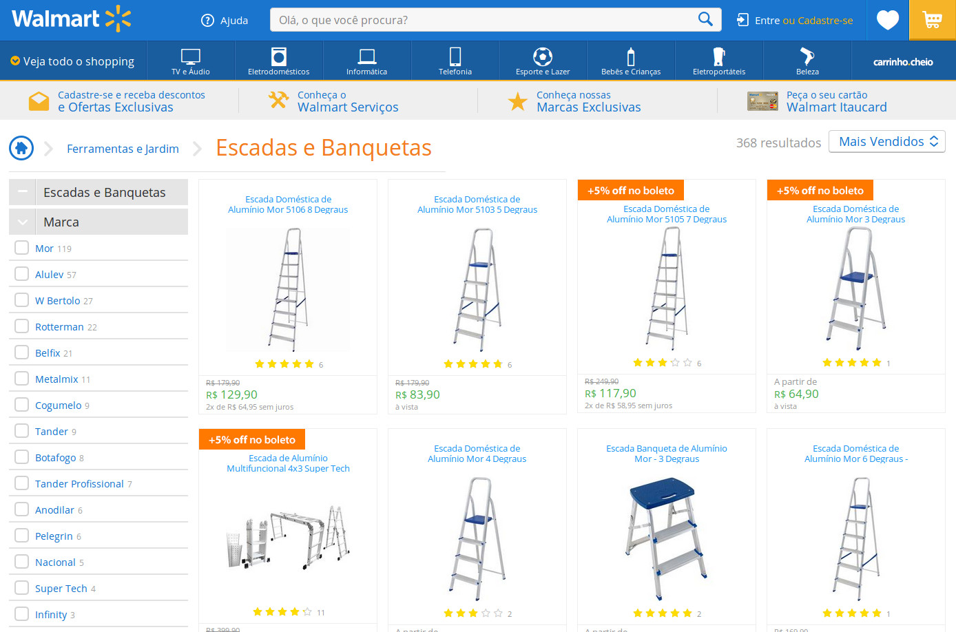 As dez escadas mais vendidas no walmart